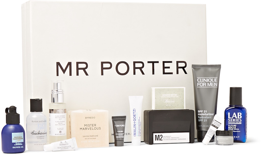 Mister Marvelous Cologne Soap, Intensive Purifying Mud Mask, SPF 21 Moisturizer, Flash Defence Anti-Pollution Mist, Antioxidant Eye Complex, Exfoliating Body Bar, Toothpaste, Oxford & Cambridge Shower Gel, M2 Pomade, Grapefruit Face Cleanser, Cold Plasma, Future Rescue Repair Serum